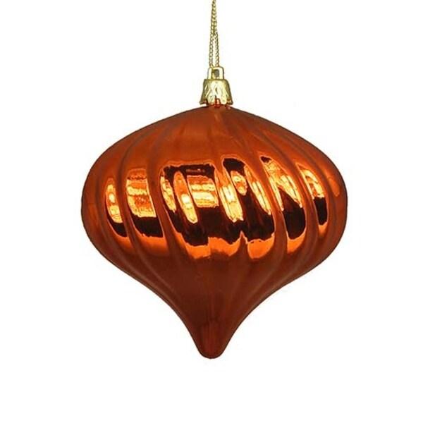 "4ct Shiny Burnt Orange Swirl Shatterproof Onion Christmas Ornaments 4"""