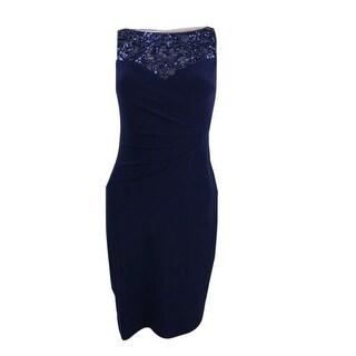 Lauren Ralph Lauren Women's Sequin Embellished Top Jersey Dress - lighthouse navy