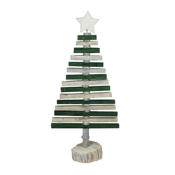"""20.25"""" Green and Natural Spiraled Christmas Tree Tabletop decor"""