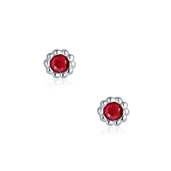Gift  Boxed!! RUBY  Sterling  Silver  925  Gemstone  Ear  STUDS 5 mm
