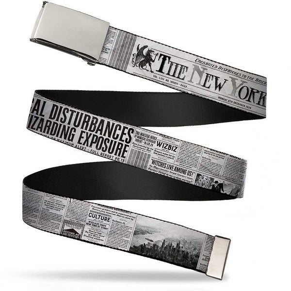 Blank Chrome Buckle The New York Ghost Newspaper Headlines White Grays Web Belt