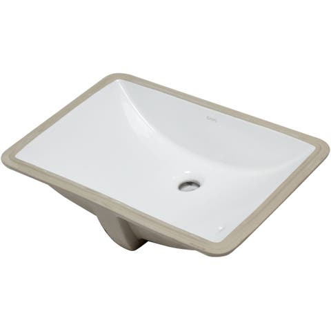 "Eago BC227 22"" Undermount Bathroom Sink with Overflow - White"