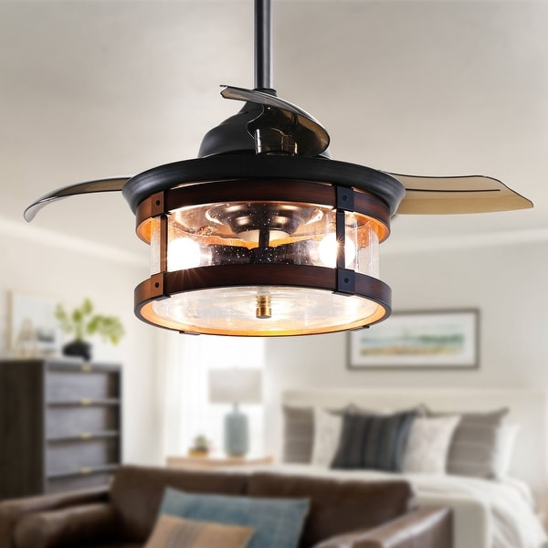 Industrial 36-In Retractable 3-Blade Ceiling fan with Light Kit. Opens flyout.