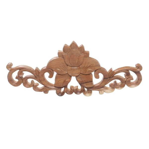"Handmade Lotus Vine Wood Relief Panel (Indonesia) - 7.75"" H x 19.25"" W x 1.2"" D. Opens flyout."