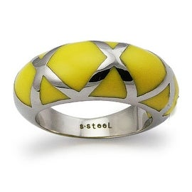 Stainless Steel Ladies' Ring with Yellow Resin Inlay (Sizes 8-11)
