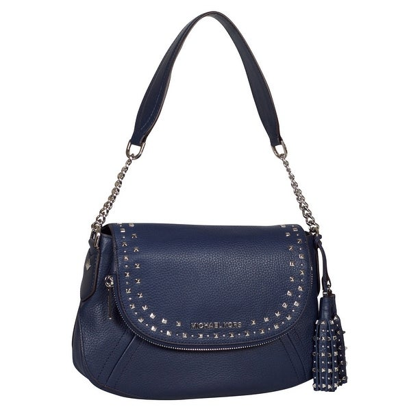 237bde9c93ff Shop Michael Kors Studded Tassel Aria Shoulder Handbag in Navy Leather -  Free Shipping Today - Overstock - 25639307