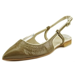 Lecle Ver Tabac Women Pointed Toe Patent Leather Green Flats