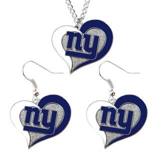 New York Giants Swirl Heart Necklace & Earring Set NFL Charm Gift