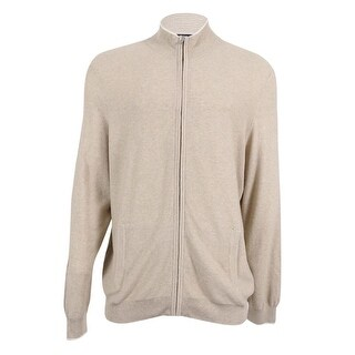 Club Room NEW Beige Mens Large L Stand Collar Silk Full Zip Sweater