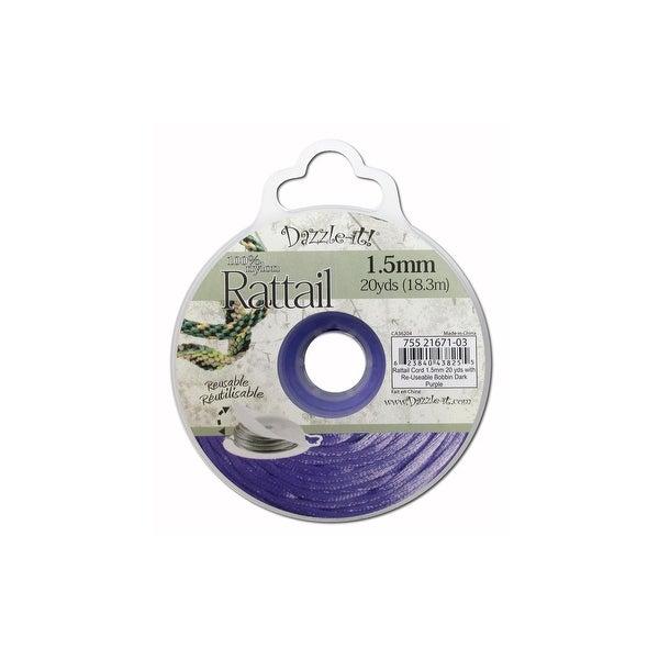 Dazzle It Rattail Cord 1.5mm 20yd Dark Purple