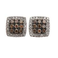 Brand New G-H/SI1 Natural Round Diamond Designer Puch Back Cluster Earring - White G-H