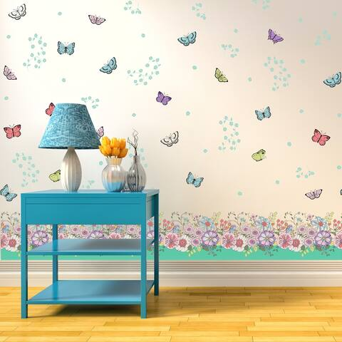 Walplus Peel and Stick Wall Sticker Colourful Butterfly Skirting