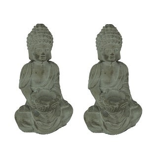 Set of 2 Weathered Grey Stone Finish Cement Buddha Bookend Statues