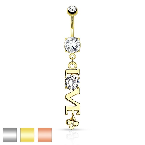 'Love' Word with Clear CZ Dangle Navel Ring