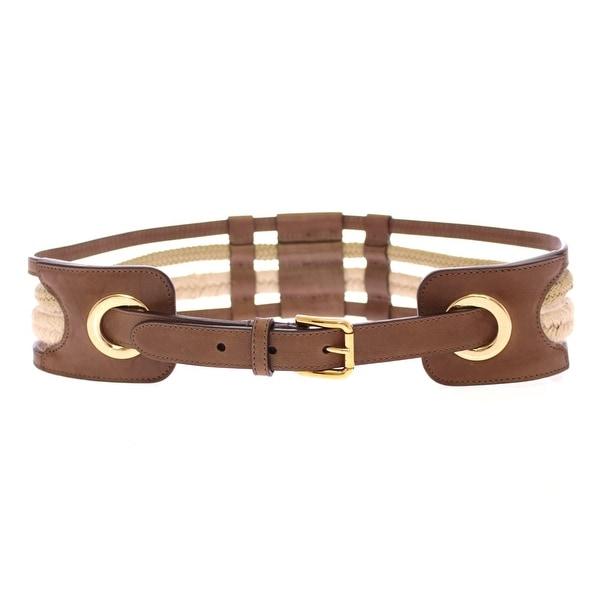 Dolce & Gabbana Dolce & Gabbana Brown Leather Logo Straw Belt