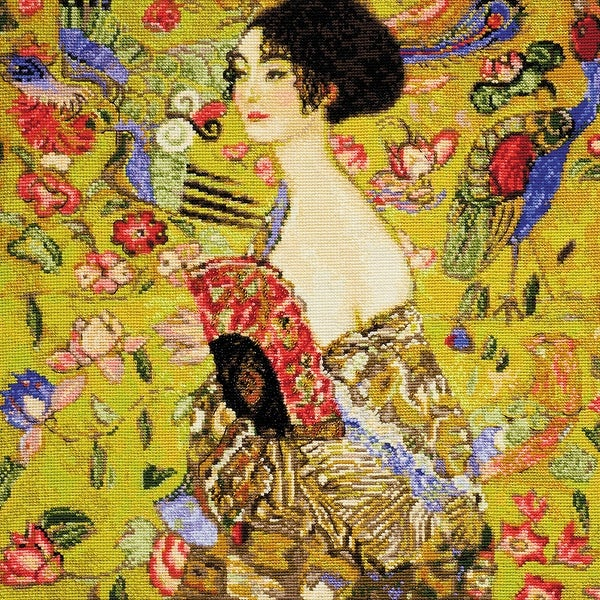 """Lady With A Fan/G. Klimt's Painting Counted Cross Stitch Kit-13.75""""X13.75"""" 14 Count"""