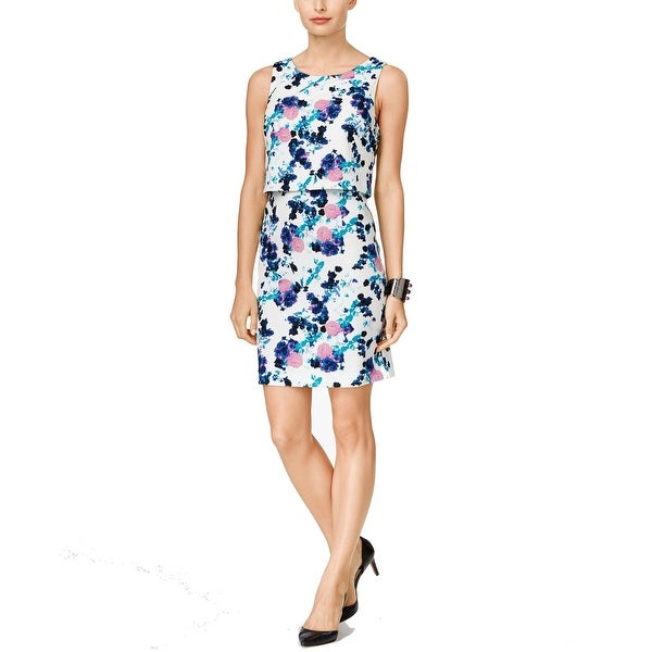 Ivanka Trump NEW White Blue Women's Size 12 Sheath Floral Print Dress