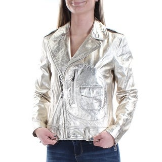 Womens Gold Casual Motorcycle Jacket Size XS