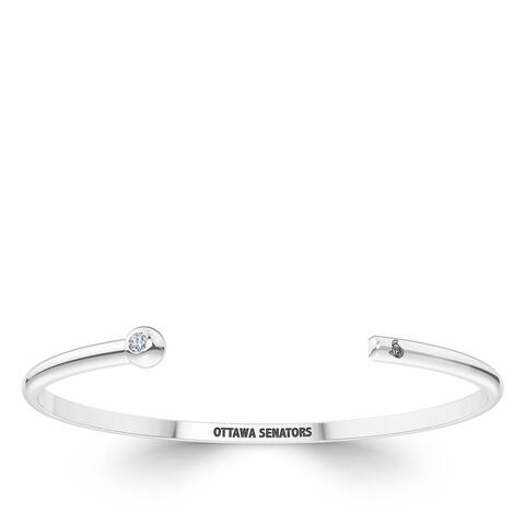 Ottawa Senators Engraved Sterling Silver Diamond Cuff Bracelet