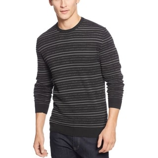 Alfani Red Label Slim Fit Sweater X-Large Black and Gray Striped Crewneck - XL