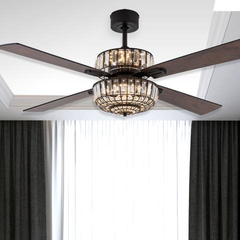 """Veldan River of Goods 52-inch LED Integrated Ceiling Fan With Light - 52"""" x 52"""" x 14.25""""/19.25"""""""
