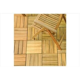 Vifah V488 4 Slat Acacia Interlocking Deck Tile - Teak Finish