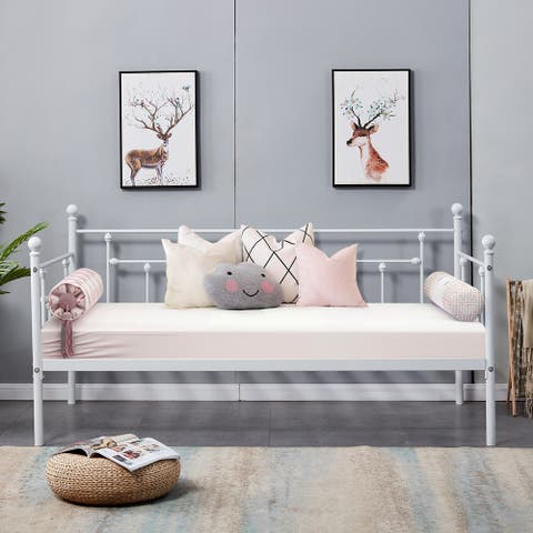 VECELO Metal Daybed or Trundle Platform Bed Frame Twin Size-Daybed and trundle sold seperately