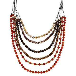 Mad Style Callie Brown Multi Long Necklace - Brown/Multi