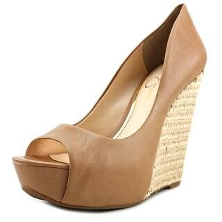 Jessica Simpson Bethani Open Toe Leather Wedge Sandal