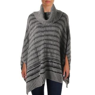 Donna Karan Womens Striped Cowl Neck Poncho Sweater - o/s