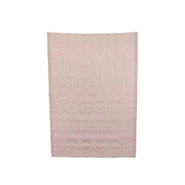 4' x 6' Capri Boulevard Pale Pink and White Outdoor Area Throw Rug