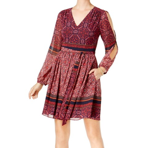 Vince Camuto Women's Geo Split-Sleeve Shift Dress
