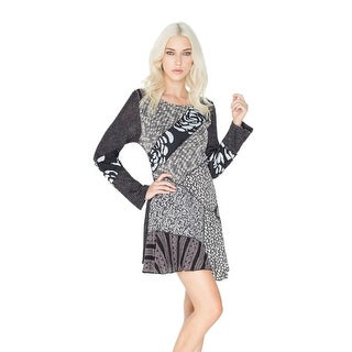 Women's Tunic Top - Black and White Patchwork Roses Print Shirt