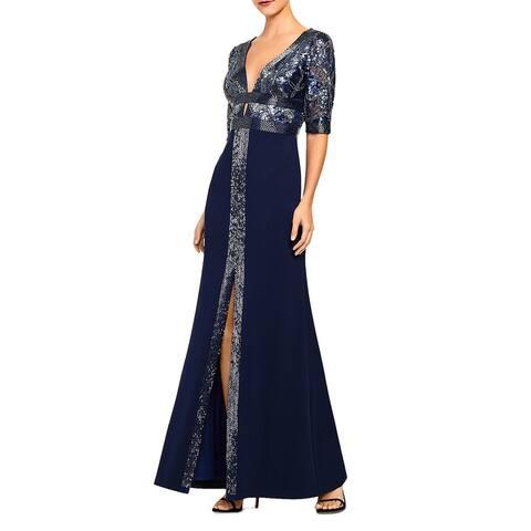 Aidan Mattox Womens Evening Dress V Neck Cutout - Navy