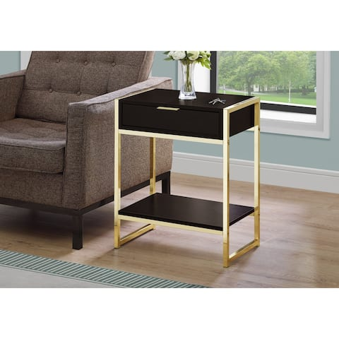 Monarch 3486 Cappuccino 24nch Accent Table With Gold Metal