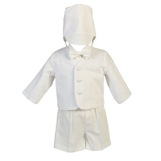 Baby Boys White Cotton Plaid Eton Hat Shorts Christening Outfit Set 0-24M