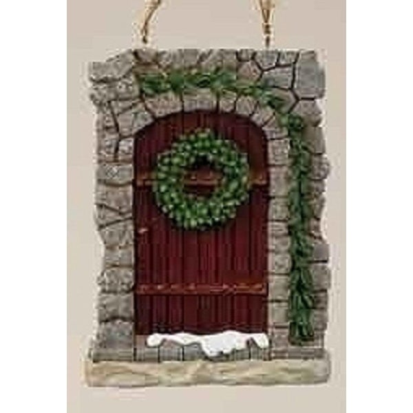 "Christmas Garden ""All Hearts Come Home"" Stone Door Ornament with Wreath - brown"