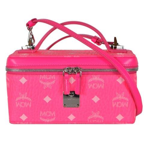 MCM Neon Pink Mini ROCKSTAR Visetos Vanity Case W/Crossbody Strap