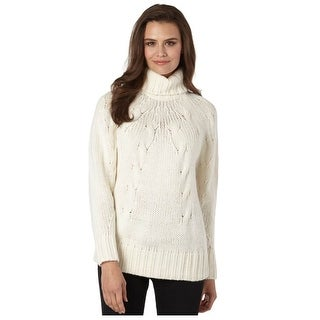 Michael Kors Womens Cable Turtleneck Long Sleeve Sweater