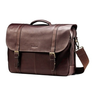 Samsonite Colombian Leather Flapover Business Case, Brown