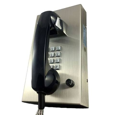 Stainless Steel Phone With Armored Cord - Pictured