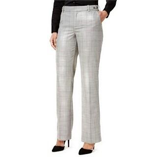 Charter Club Plaid Tab Waist Classic Fit Trousers Pants - 16