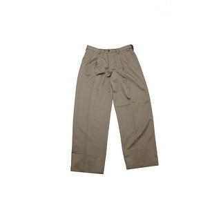 Haggar Khaki Pleated Classic-Fit Microfiber Dress Pants X - 32x30