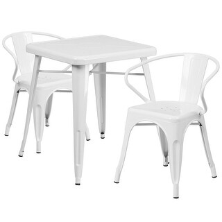 Brimmes 3pcs Square 23.75'' White Metal Table w/2 Arm Chairs