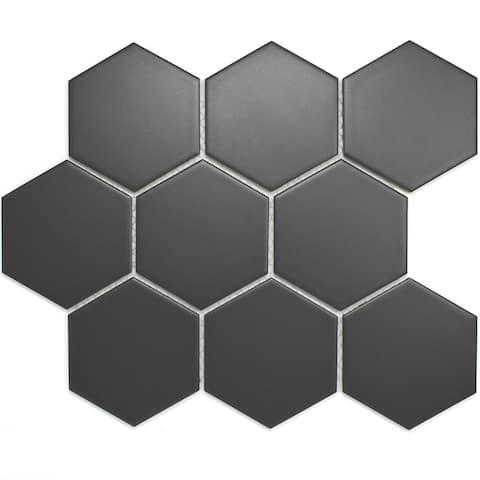 """TileGen. 3.75"""" x 3.75"""" Hexagon Porcelain Tile in Dark Grey Floor and Wall Tile (11 sheets/8.2sqft.)"""