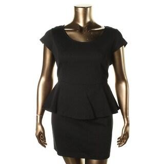 Kensie Womens Cap Sleeves Peplum Cocktail Dress - S