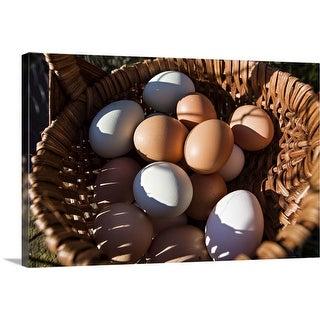 """Farm fresh eggs in a basket"" Canvas Wall Art"