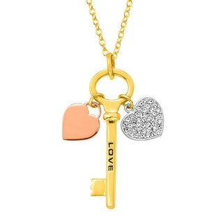 Crystal Heart 'Love' Key Charm Pendant in 18K Three-Tone Gold & Silver-Plated Brass - White