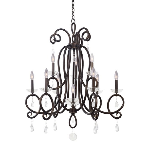 Kalco 7228tb Winona 10 Light 2 Tier Candle Style Chandelier Tarnished Br