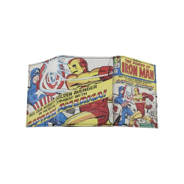 Marvel Mens Captain America Iron Man Trifold Wallet Faux Leather Graphic - o/s